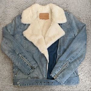 Lucky Brand faux fur denim jacket